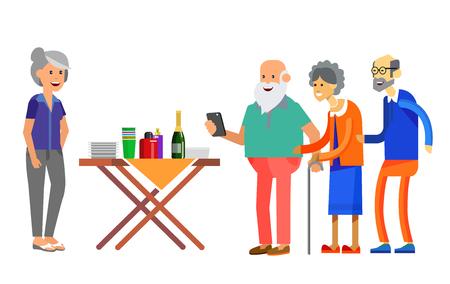 Illustration pour Happy seniors couple enjoying conversation guests or party. Vector illustration in flat style. - image libre de droit