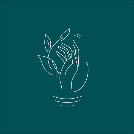 Illustration pour Vector icon and logo with hand for natural cosmetics and care dry skin. Editable outline stroke size. Line flat contour, thin and linear design. Simple icons. Concept illustration. Sign, symbol, element. - image libre de droit