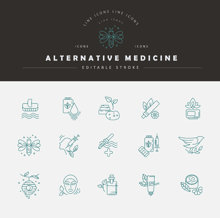 Illustration for Vector icon and logo for alternative medicine. Editable outline stroke size. Line flat contour, thin and linear design. Simple icons. Concept illustration. Sign, symbol, element. - Royalty Free Image