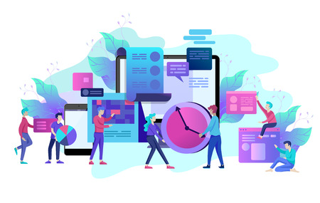 Ilustración de Landing page template of planning timework management people. Businnes Start Up Concept. Income and Success. Workers are studying the infographic, the analysis of evolutionary scale. Vector Business - Imagen libre de derechos