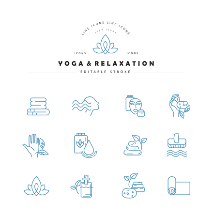 Vector Icon And Logo For Yoga Or Relaxation Editable Outline Stroke Size Line Flat Contour Thin And Linear Design Simple Icons Concept Illustration Sign Symbol Element Tasmeemme Com