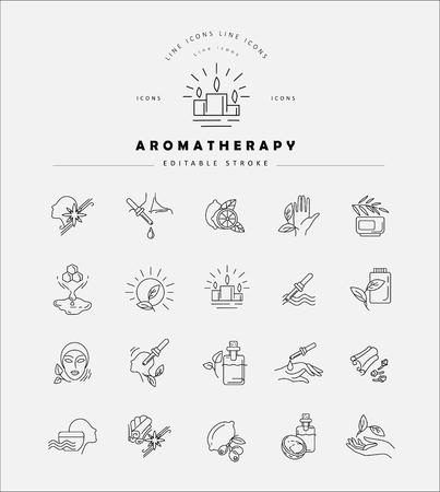 Illustration pour Vector icon and logo for aromatherapy. Editable outline stroke size. Line flat contour, thin and linear design. Simple icons. Concept illustration. Sign, symbol, element. - image libre de droit