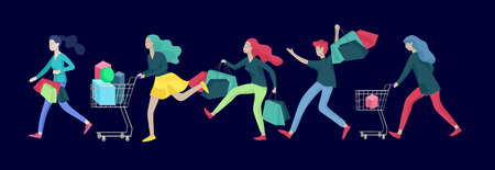 Illustration for Collection of people carrying shopping bags with purchases. Madness on sale, line of crazy Men and women taking part in seasonal sale at store, shop, mall. Cartoon characters concept for black friday. - Royalty Free Image