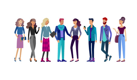 Illustration pour Detailed character students, Lifestyle, couple of young people in street stylish clothes style. Young people with gadgets, backpacks and books. University students. - image libre de droit