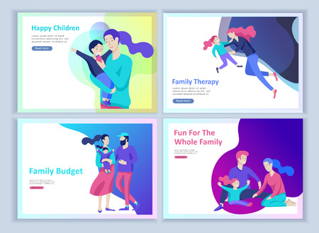Illustration pour Set of Landing page templates happy family, travel and psychotherapy, family health care, goods entertainment for mother father and their children. Parents with daughter and son have fun togethers - image libre de droit