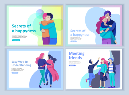 Illustration for Set of Landing page templates for positive psychology, group family psychotherapy. Happy friends character have positive emotions, way to happiness and happy life munderstanding with friends and loved - Royalty Free Image