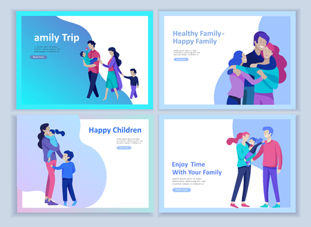 Illustration for Set of Landing page templates happy family, travel and psychotherapy, family health care, goods entertainment for mother father and their children. Parents with daughter and son have fun togethers - Royalty Free Image