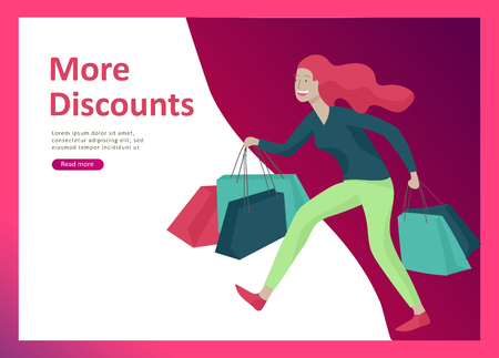 Illustration pour Landing page templates. People running for sale, crazy discounts, end of season, carrying shopping bags with purchases. Madness on seasonal sale at store shop. Cartoon character for black friday - image libre de droit