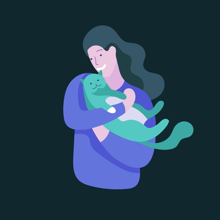 Vector character. Happy people with their pets, cat love their owners. Colorful flat concept illustration.
