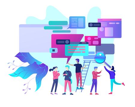Illustration pour Concept Landing page template, flat style, businessmen discuss social network, news, social networks, chat, dialogue speech bubbles, new projects - image libre de droit