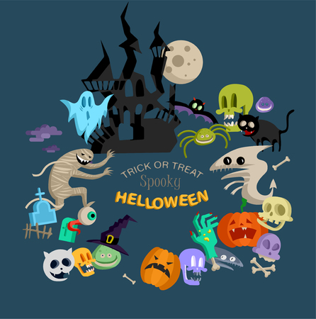 Illustration pour Vector icon and element for Helloween. greeting card for Happy Halloween design icon. Concept illustration. Sign and symbol, element. - image libre de droit