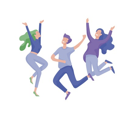 Illustration for Jumping character in various poses. Happy positive young women rejoicing, happiness, freedom, motion people concept. - Royalty Free Image