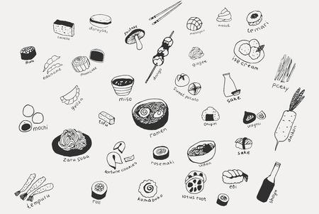 Ilustración de Collection of the different japanese food. Hand drawn line art set of the food icons - Imagen libre de derechos