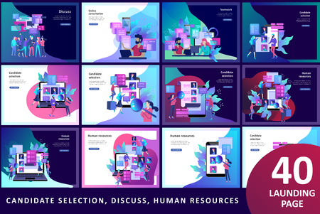Illustration pour Concept Landing page template Human Resources and selection candidates, banner, presentation, social media. Recruitment for web page. Vector illustration filling out resumes, hiring employees - image libre de droit