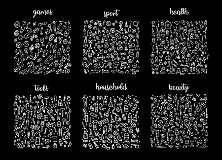 Illustration pour Hand drawn icons set and elements pattern. Digital illustration, games doodles elements, sports seamless background, health and tools. Vector household and beauty sketchy illustration - image libre de droit