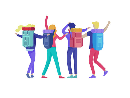 Ilustración de People characters man and woman for hiking and trekking, holiday travel vector, hiker and tourism illustration. Happy Tourists travelling with friends dancing and hugging - Imagen libre de derechos