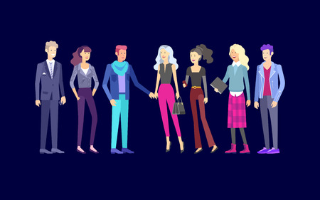 Illustration for Detailed character business men and women, working people. Business team Lifestyle, stylish clothes style. People with gadgets, backpacks and books, teamwork concept. Flat design people characters. - Royalty Free Image