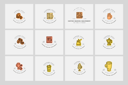 Illustration pour Vector icon and logo for coffee making equipment. Editable outline stroke size. Line flat contour, thin and linear design. Simple icons. Concept illustration. Sign, symbol, element. - image libre de droit