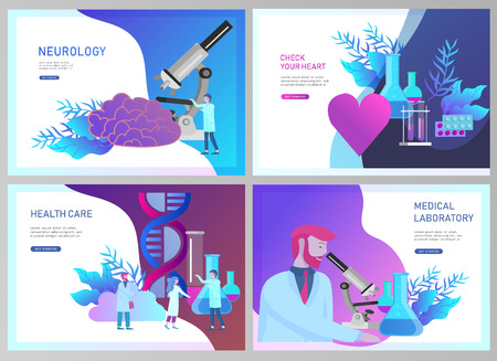 Illustration pour Web page design templates collection of online medical diagnosis and treatment, medical donation, laboratory and heart health, neurology. Modern illustration concepts for website - image libre de droit