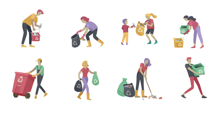 Illustration for people and children Recycle Sort organic Garbage in different container for Separation to Reduce Environment Pollution. Family with kids collect garbage. Environmental day vector cartoon illustration - Royalty Free Image