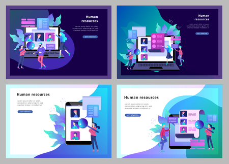 Illustration pour Concept Landing page template Education people, Internet studying, online training, online book, tutorials, e-learning for social media, distance education, documents, cards, posters - image libre de droit
