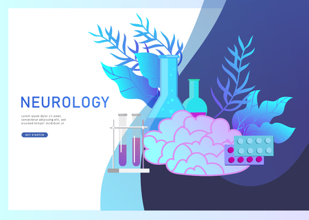 Illustration pour Neurology genetics concept. Flat style little people doctors medical team working, constructing DNA, researching Deoxyribonucleic acid. Brain, Creative mind, learning and design Landing page template. - image libre de droit