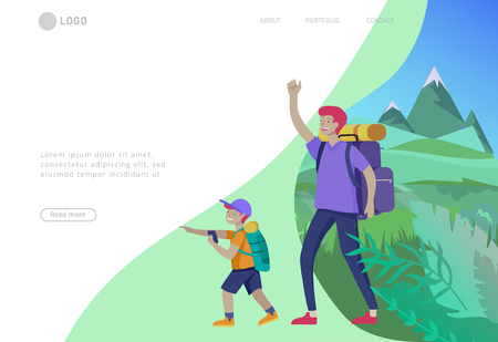 Illustration pour Landing page template with Father with son are hiking. Family performing sports outdoor activities at park or Nature. Cartoon illustration - image libre de droit