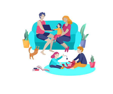 Collection of family hobby activities. Mother, father and children relaxing at home together, kids play with cat. Cartoon vector illustration