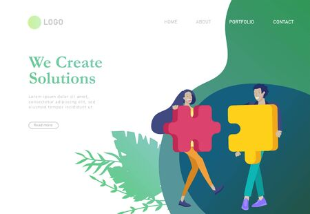 Ilustración de Landing page templates. Vector character business people with infographic of puzzle have solution. Goal thinking. Cooperation by group to create a team. Concept for web design Colorful flat concept illustration. - Imagen libre de derechos