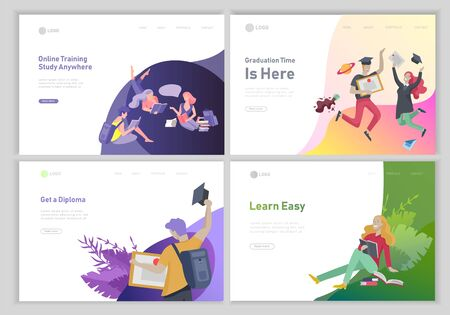 Illustration pour Set of web page design templates with relaxed learning people outdoor and graduate for online education, training and courses. Modern vector illustration concepts for website - image libre de droit