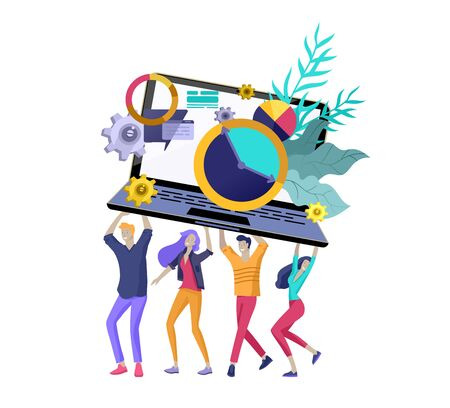 Illustration pour Team People moving. Business invitation and corporate party, design training courses, about us, expert team, happy teamwork. Flat characters design illustration - image libre de droit