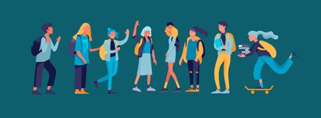 Illustration pour Happy teenagers and students. Group of friends character are laughing and talking. Stylish smiling boys and girls. Young generation pupils or millennials. Colorful cartoon concept vector illustration - image libre de droit