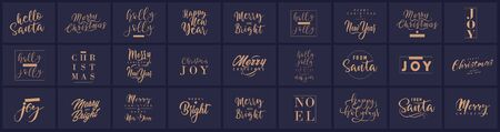 Ilustración de Merry Christmas and happy New Year set with lettering typographic compositions for the poster and greeting card. Calligraphy for winter holiday. Vector illustration - Imagen libre de derechos