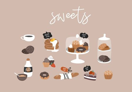 Illustration pour Bakery or cafe hand drawn collection . Cartoon constructor set. Dessert sweets, pancakes and cookies, donuts and bread, cake in transparent glass. Vector illustration - image libre de droit