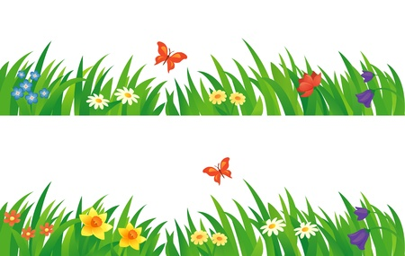 Vector set with summer grass and flowers.