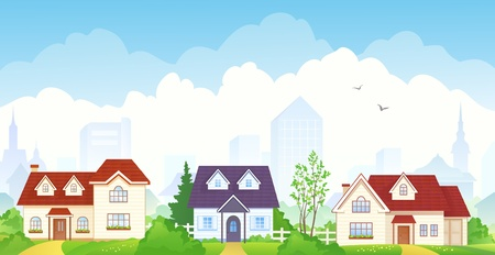 Vector illustration of summer suburbs