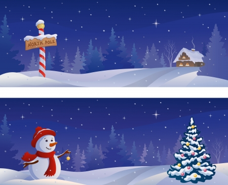 Vector Christmas night snowy banners with a snowman and a North Pole sign