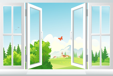 Vector illustration  open window with a landscape view  EPS 10  transparency used