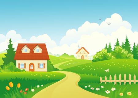 Vector illustration of a rural landscape