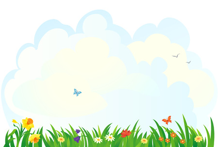Vector background with a spring grass and flowers
