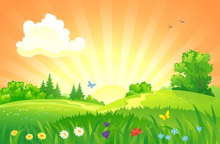 Illustration for illustration of a summer sunset landscape - Royalty Free Image