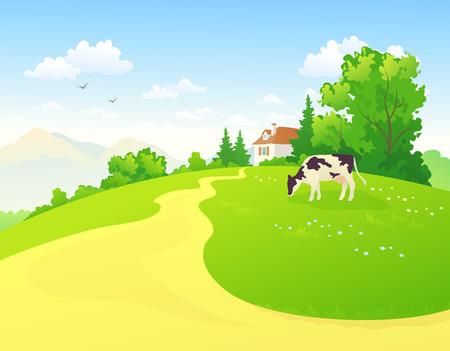Illustration pour Summer rural scene - image libre de droit