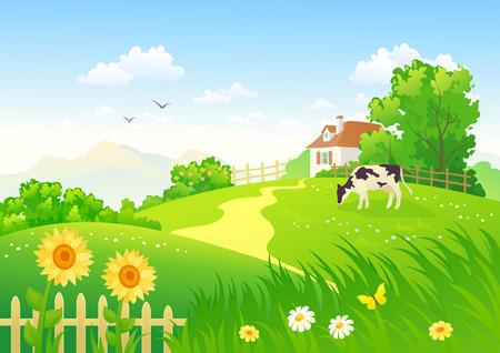 Illustration pour Rural scene with a cow - image libre de droit