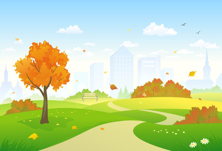 Illustration pour Vector illustration of a beautiful autumn city park alley - image libre de droit