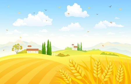 Illustration pour Vector illustration of a beautiful autumn scene with wheat fields - image libre de droit