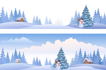 Vector banners with winter panoramic landscapes