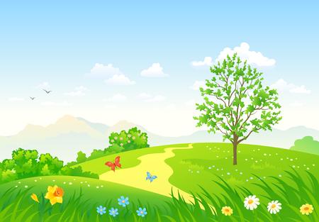 Illustration pour Vector  illustration of a beautiful green spring landscape - image libre de droit