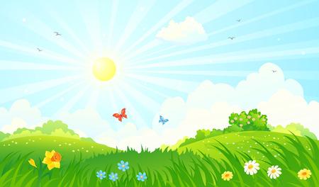 Ilustración de Vector illustration of a spring sunny meadow - Imagen libre de derechos