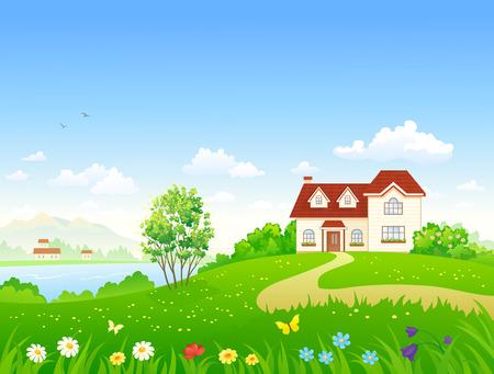 Ilustración de Vector illustration of a country house and garden - Imagen libre de derechos