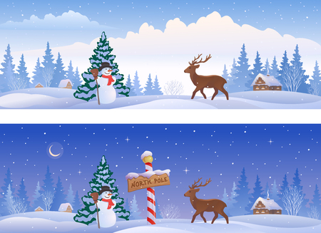 illustration of Christmas landscapes with a North Pole sign, a snowman and a deer, panoramic banners